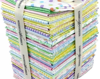 Windham Basic Pastels Fat Quarter Bundle - FREE U.S. Shipping - 42 Different Prints Cotton Quilt Fabric - FATQPB-80 (W1978)