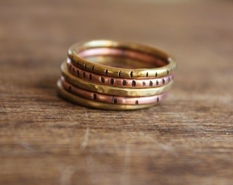 Slash Mixed Brass/Copper Stacking Rings Set of Five