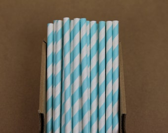 25 baby blue striped paper straws (PS0017) - with printable DIY flags