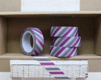Washi Tape - purple & grey diagonal stripes - bicolor stripes -  0006
