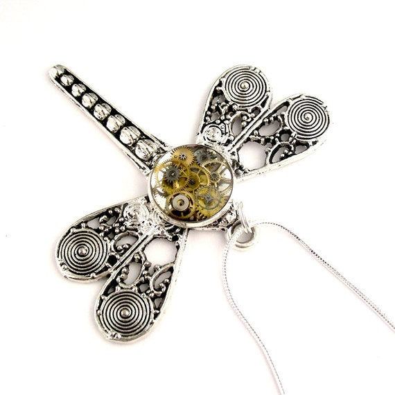 Steampunk Resin Dragonfly pendant mechanical watch by ...