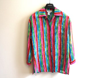 Multicolor Long Sleeve Striped Pure Silk Blouse Sequined Colorful Shirt Pink Blue Green Red Top Small Size