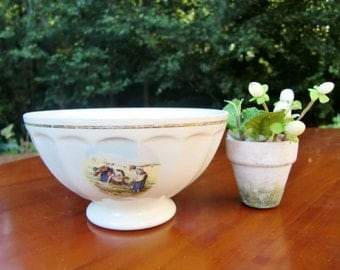 French vintage  white  bowl café au lait bowl , peasant in a field decor