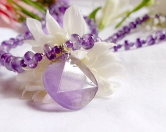 Faceted amethyst necklace with geometric pendant and 925 sterling silver *Free worldwide shipping*