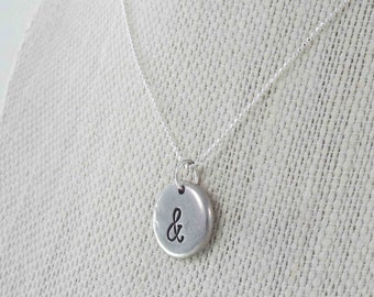 Ampersand Necklace, Ampersand Jewelry, Ampersand Charm, Symbol Charm, Pewter Pebble Necklace, Hand Stamped Jewelry, Personalized Jewelry