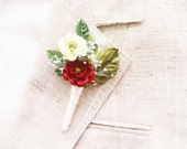 Winter wedding boutonniere, Red lapel pin, Groom, Groomsmen buttonhole - NICHOLAS