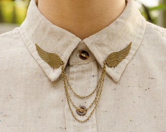 Bronze Bird Wing Collar Clip Collar Chain