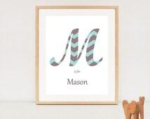 Personalized Initial Monogram - Custom boys or girls name printable nursery wall art - DIGITAL file!