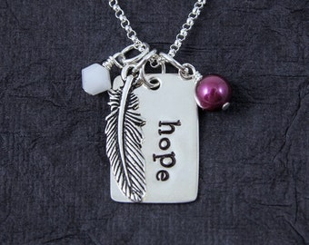 Hope Necklace, Hope is the thing with feathers Necklace, Hand stamped Sterling Silver,
