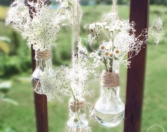 Set of 3 Hanging Light Bulb Vases.