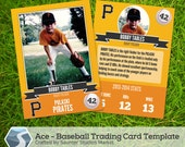 """Ace: Baseball Trading Card - 2.5"""" x 3.5"""" Photoshop Template for Designers, Photographers, Parents, and Coaches"""