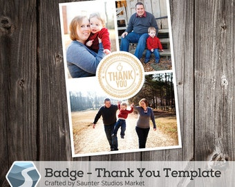 Thank You Card Template: Badge - 5x7 and 4x6 Photoshop Template for Photographers and Designers