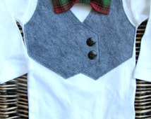 Baby Boy Clothes - Boys First Christmas Outfit -Baby Bow Tie With Vest  - Grey Vest Bodysuit - Christmas Plaid Bow Tie - Christmas Outfit