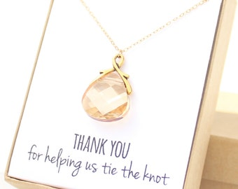 Champagne Briolette / Gold Necklace - Bridesmaid Jewelry - Bridesmaid Necklace - Champagne Jewelry - Swarovski Necklace - Amber Necklace