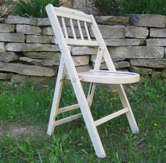 Childs Wood Chair Shabby White Wooden Folding Chair Childrens
