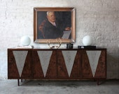 Custom Credenza - Buffet - Record Cabinet - Antiqued Mirror and Walnut burl