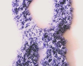 Shaggy scarf, long scarf, mauve scarf, Spring scarf, made in England, hand knit