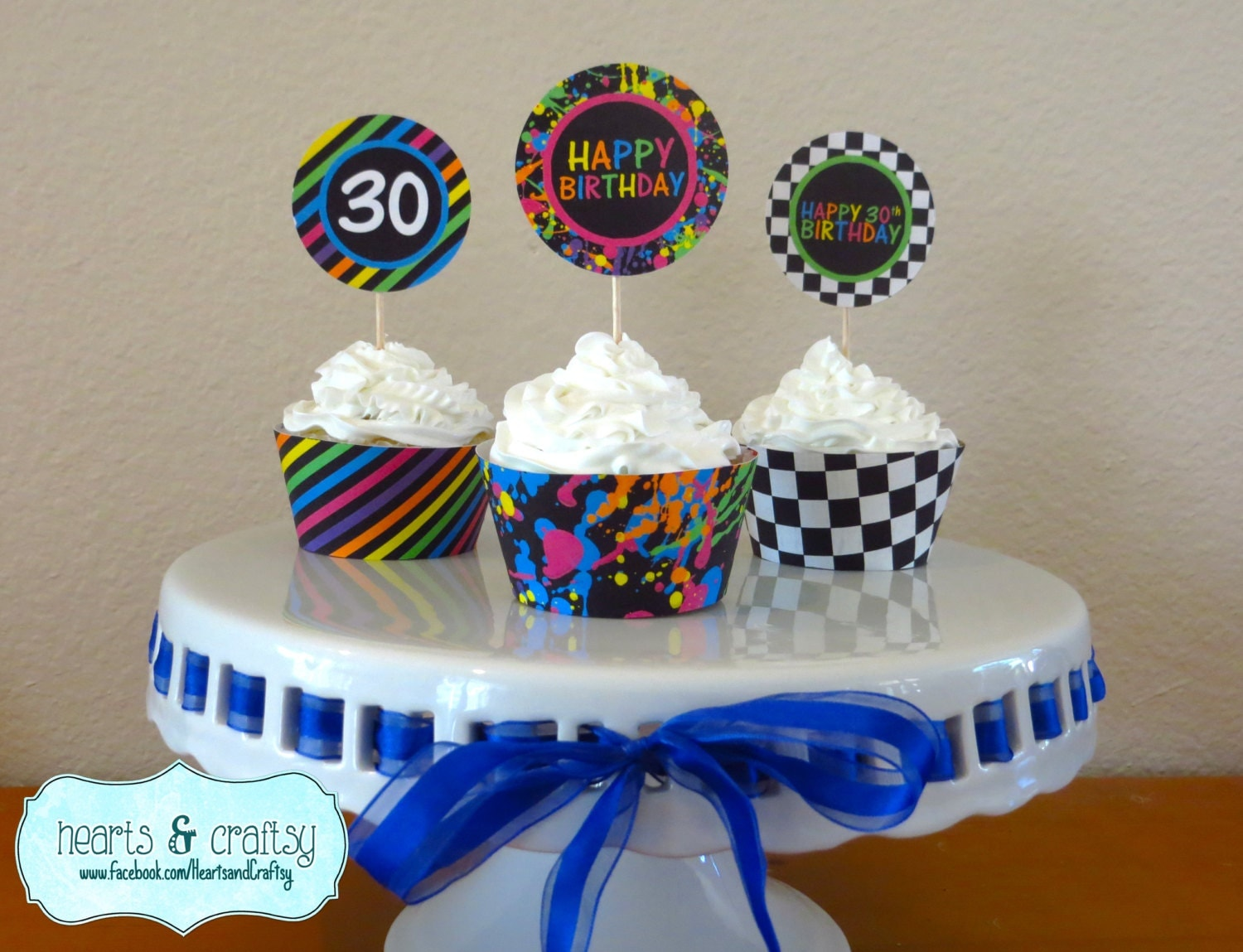 Neon S Party Cupcakes S Birthday Cupcake Toppers - Neon birthday party cakes