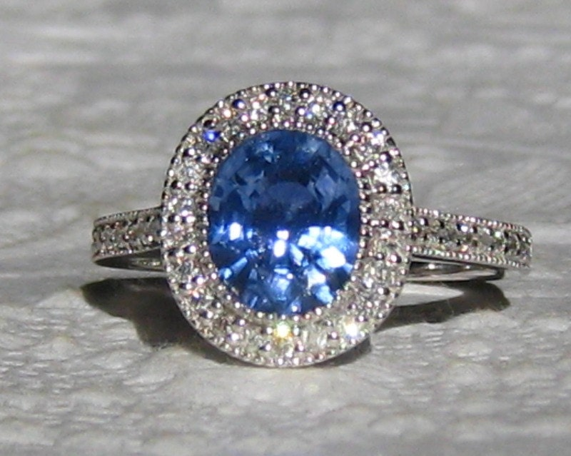 Blue Sapphire Engagement Ring 1 73 Carat by JuliaBJewelry on Etsy