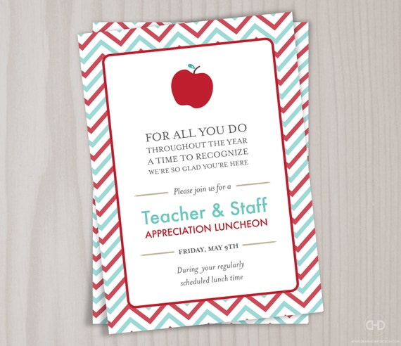 Teacher Appreciation Invitation Printable Teacher Thank You