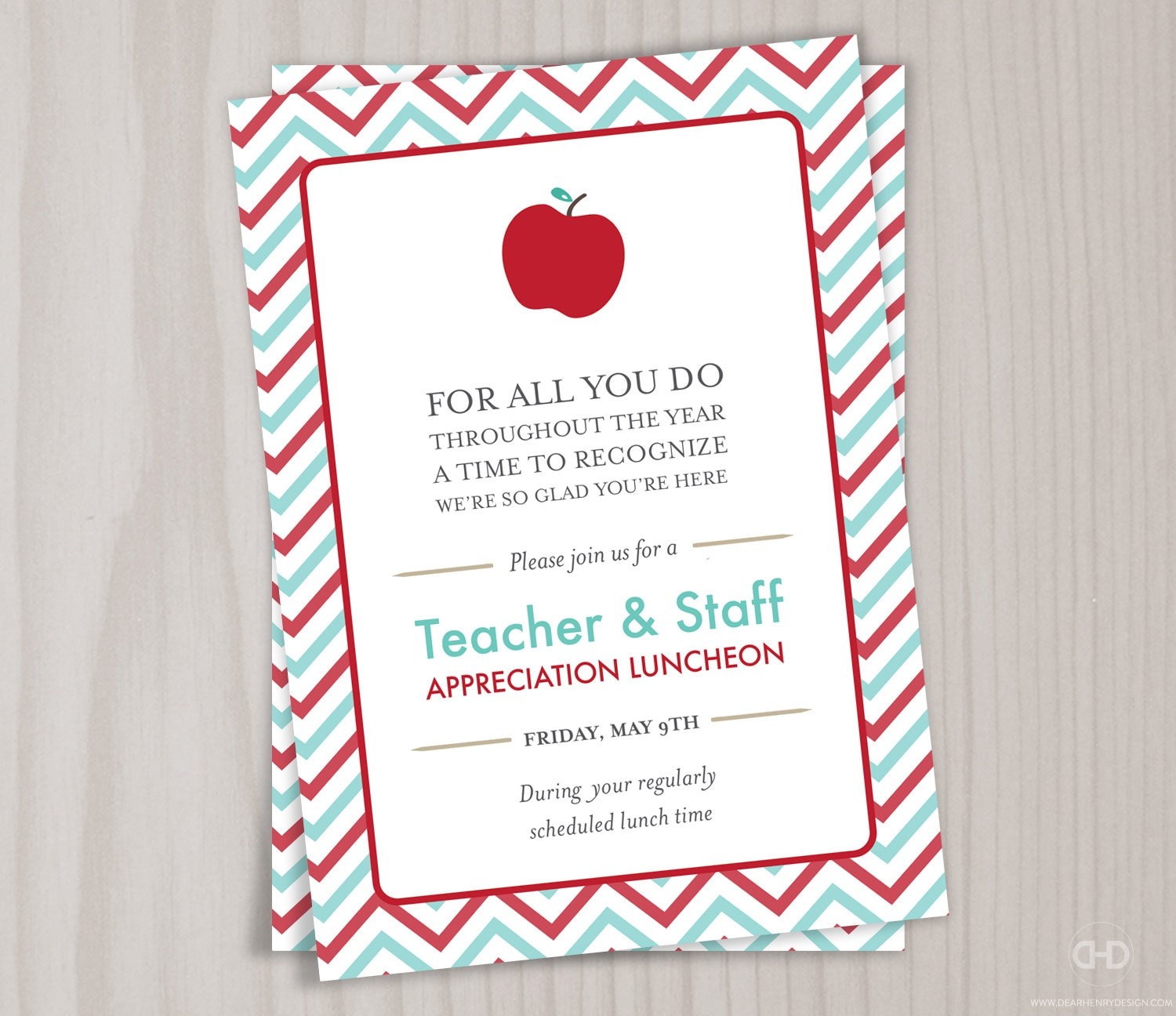 Teacher Appreciation Invitation Printable by DearHenryDesign