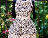 Hostess Apron -  Retro Inspired Style With Ruffled Sweetheart Neckline - Black and Gray Damask and Dot Print - FAAP, HAFAIR, TeamHaHa