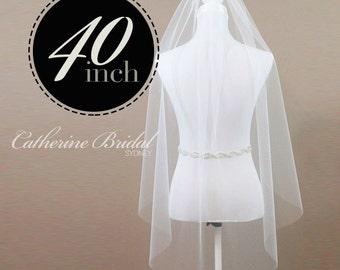 Fingertip Veil Single Tier Bridal Ivory or Soft White Bridal Illusion Tulle 1 Tier Wedding Veil