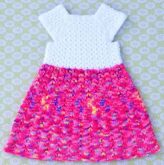 Knitting Pattern Only Mock Cables Baby Dress
