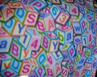 Baby Blocks Alphabet Numbers Fleece Throw Blanket