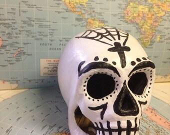 Dia de Los Muertos Paper Mâché Skull-One of A Kind!