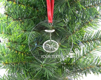 Personalized Custom Unicycle Clear Acrylic Christmas Tree Ornament with Ribbon