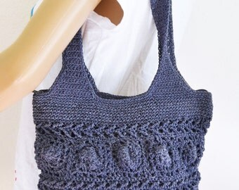 Blue Knit bag purse,bag,Shoulder bag ,crocheted ,rosettes