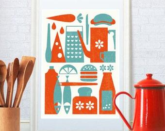 Kitchen art, Kitchenware print, Kitchen decor, Mid century modern, Scandinavian style, Coffee pot home decor, Kitchen print