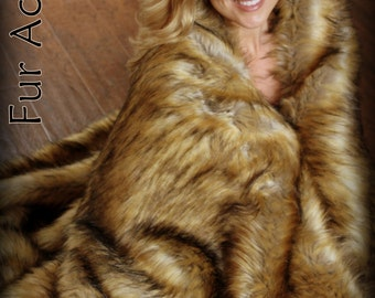 Faux Fur Throw Blanket - Light Golden Brown Coyote - Wolf - backed with Softest Minky Cuddle Fur - Fur Accents Original Designs - USA