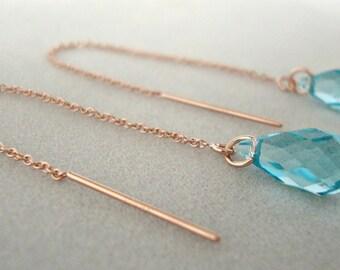 Light Turquoise Swarovski Crystal Rose Gold-filled Threader Earrings - Bridesmaid Earrings - Bridal Earrings - Handmade Minimalist Jewelry