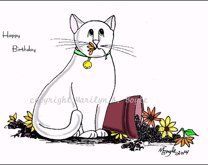SET of CAT CARDS -art,  illustration; ink drawings, colored, pets, domestic animals, garden, flowers, siamese cats, art, originals