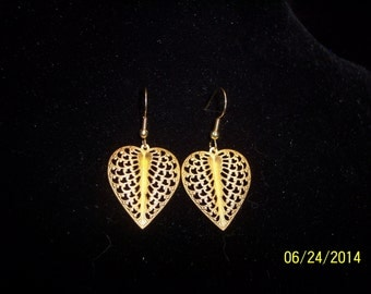 Gold Leaf Shaped Earrings #208