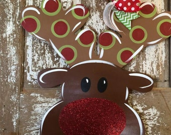 Christmas Door Hanger, Reindeer, Christmas Wreath