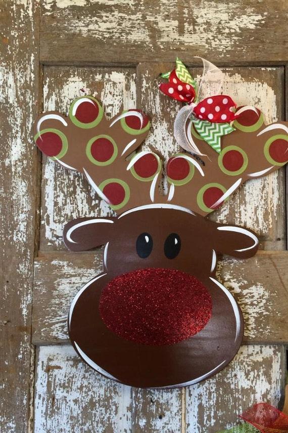 Christmas Door Hanger Reindeer Christmas Wreath