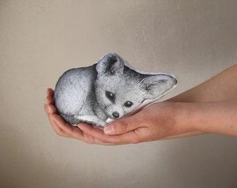 fox fennec shaped plush children room decor hand painted soft toy nursery decor black and white realistic stuffed animal