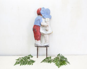 Concrete Garden Ornament with Little Boy and girl