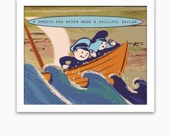 Motivational office decor inspirational quote print, boating and sailing cartoon art, nautical sea art wall artwork