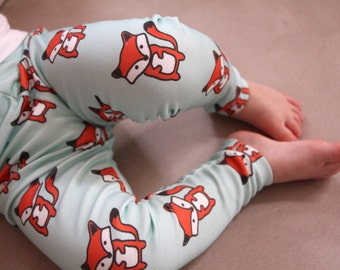 Baby Leggings - Foxes on Mint Background - Organic Knit - Made with Spoonflower designer artisan fabric