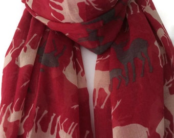 Stag Scarf , Deer Scarf , Red Grey and White Scarf , ladies Sarong , Animal Print Wrap shawl