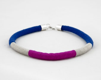 Blue, silver and magenta wrap rope choker necklace