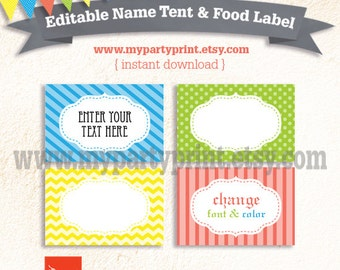 Editable Boys Party Name Tent / Place Card / Buffet Food Label / Table Tent Card - Instant Download