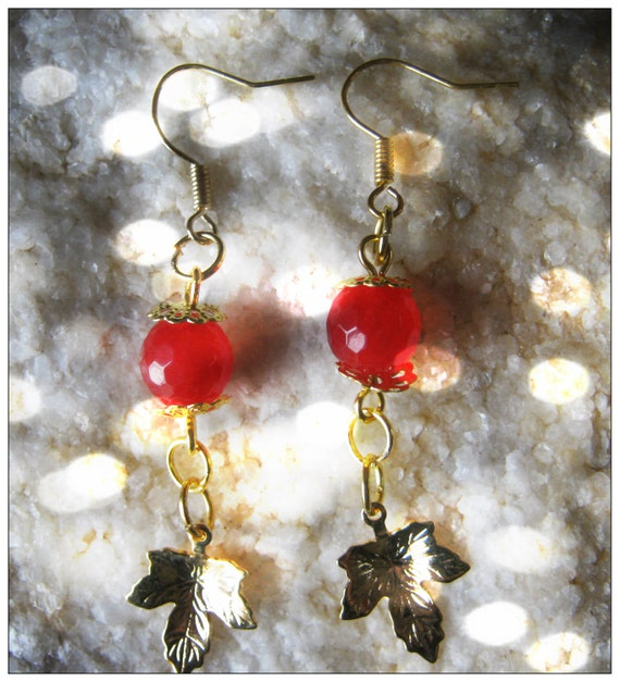 Handmade Gold Hook Earrings with Facetted Ruby & Leaf by IreneDesign2011