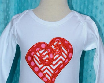 Personalized Valentine's Swirly Heart  Applique Shirt or Onesie Girl or Boy