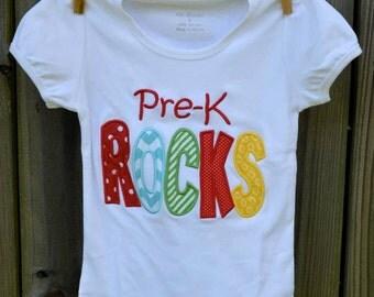 Personalized Pre K Rocks Applique Shirt or Onesie Girl or Boy