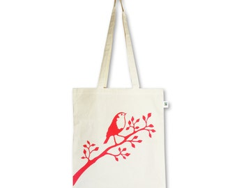 Robin / eco tote bag / handprinted with red robin